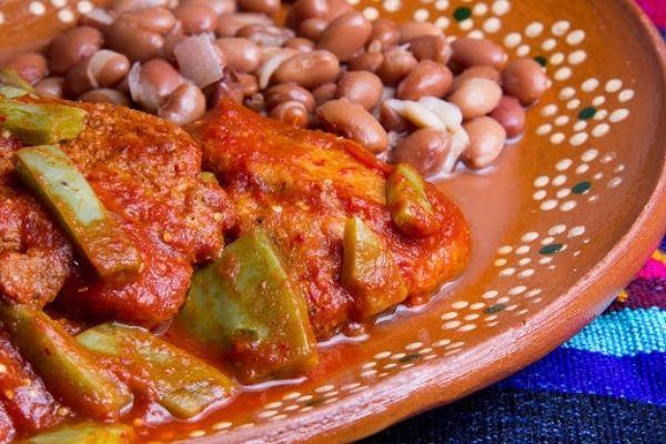 pollo con nopal en salsa de guajillo