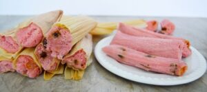 tamales dulces de fresa preparación